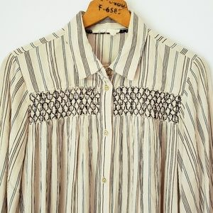 Floreat Anthropologie Embroidered Tunic Length Top